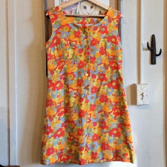 Vintage Dresses & Skirts - Vintage 60's flower power mini dress